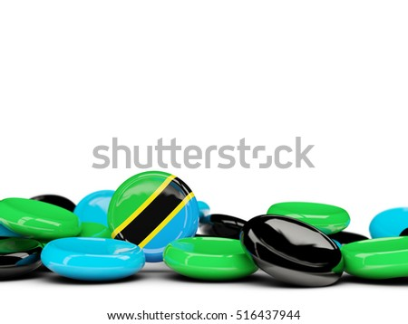 Flag of tanzania, round buttons isolated on white. 3D illustration