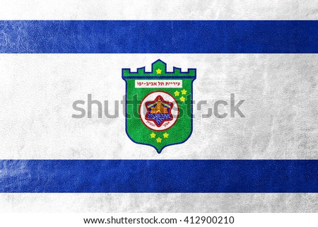 Flag of Tel Aviv, painted on leather texture - stock photo