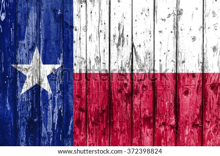 Flag of Texas painted on wooden frame - stock photo