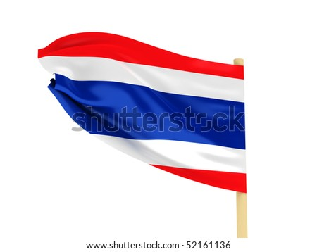Flag of Thailand on pole isolated on white background. High quality 3d render.