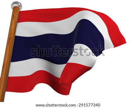 Flag of Thailand waving  on white background