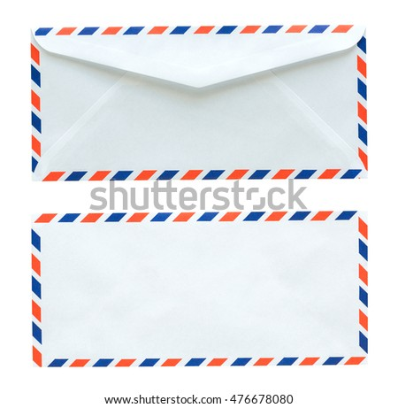 Flag of thailand white envelope isolated on white background with Clipping Paths