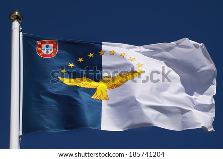 Flag of the Azores Islands (Portugal) - stock photo