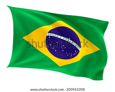 Flag of the Brazil on a white background.