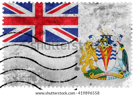 Flag of the British Antarctic Territory, old postage stamp - stock photo