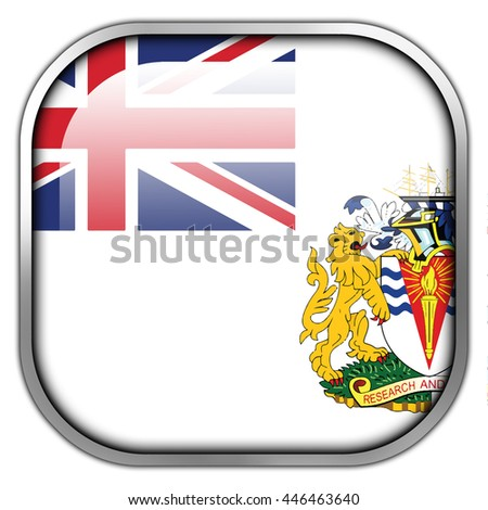 Flag of the British Antarctic Territory, square glossy button - stock photo