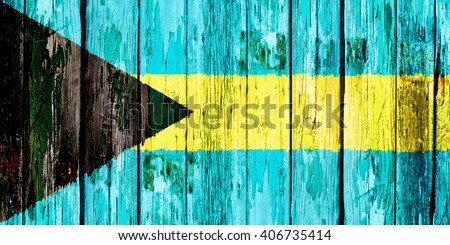 Flag of the Commonwealth of the Bahamas - stock photo
