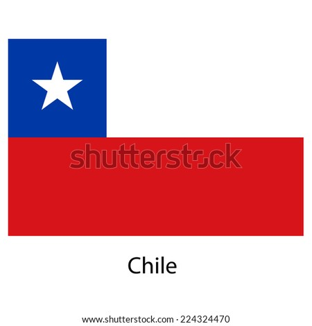 Flag  of the country  chile.  illustration.  Exact colors.  - stock photo