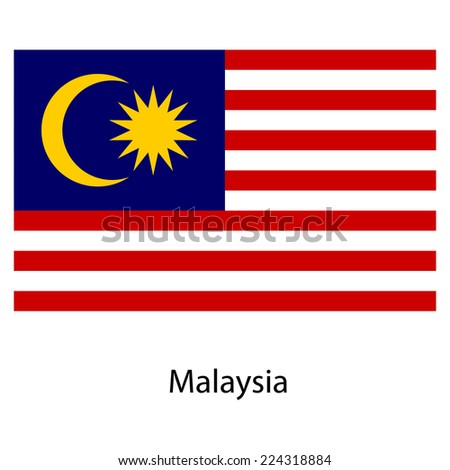 Flag  of the country  malaysia.  illustration.  Exact colors.  - stock photo