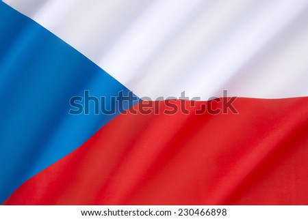Flag of the Czech Republic - same as the flag of the former Czechoslovakia. On dissolution of Czechoslovakia the Czech Republic kept the Czechoslovak flag, while the Slovak Republic adopted its own. - stock photo