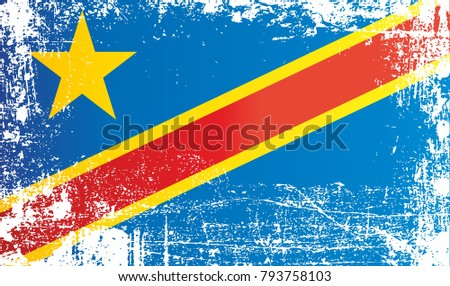Flag of the democratic republic of the congo africa wrinkled dirty spots can