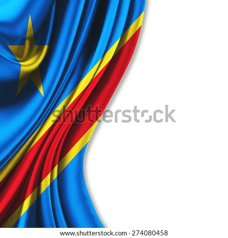 Flag of the Democratic Republic of the Congo curtain theater up white background - stock photo