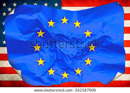 flag of the European Union against the background of the flag of the United States