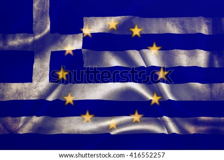 Flag of the European Union and Greece