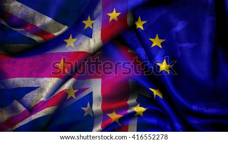 Flag of the European Union and the United Kingdom of Great Britain - stock photo