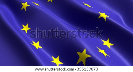 flag of the European Union flutters in the wind - stock photo