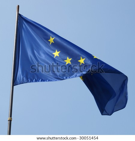 Flag of the European Union over blue sky