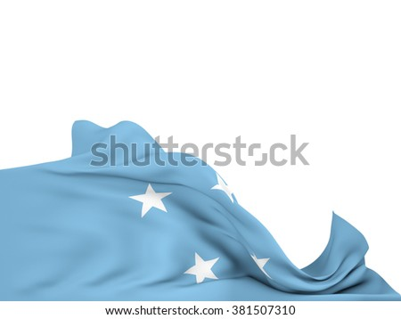 Flag of the F.S. Micronesia moved by the wind, leaving a  white background