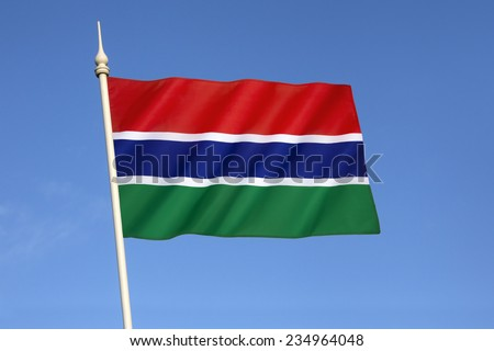 Flag of the Gambia - Adopted in 1965 to replace the British Blue Ensign of the Gambia Colony and Protectorate,. Flag of the Republic of the Gambia since the country gained independence in 1965.  - stock photo