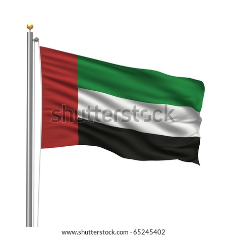 Flag of the United Arab Emirates with flag pole waving in the wind over white background