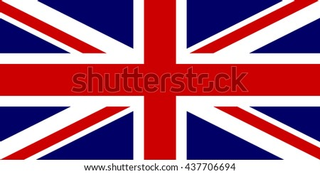 Flag of the United Kingdom in correct proportions and colors. This is the 1:2 national version. - stock photo
