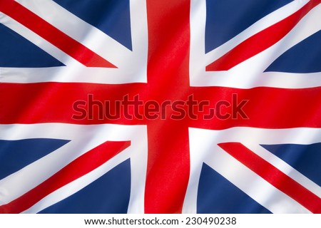 Flag of the United Kingdom of Great Britain and Northern Ireland - Also known as the Union Jack or Union Flag. - stock photo
