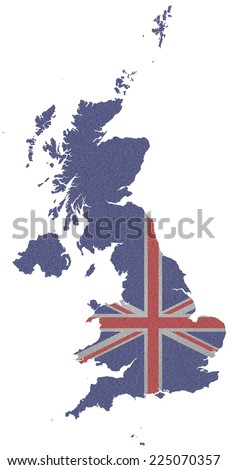 Flag of the United Kingdom of Great Britain and Northern Ireland overlaid on outline map isolated on white background