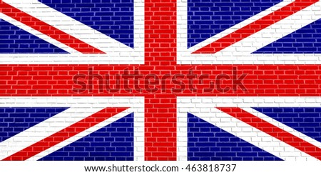 Flag of the United Kingdom on brick wall texture background. British national flag. Union Jack.