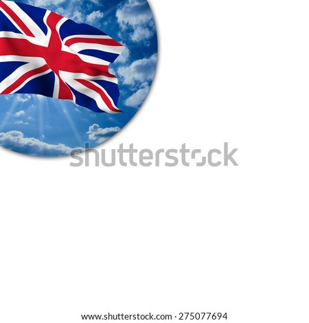 Flag of the United Kingdom waving in the blue sky with white clouds in a porthole on a white background - stock photo