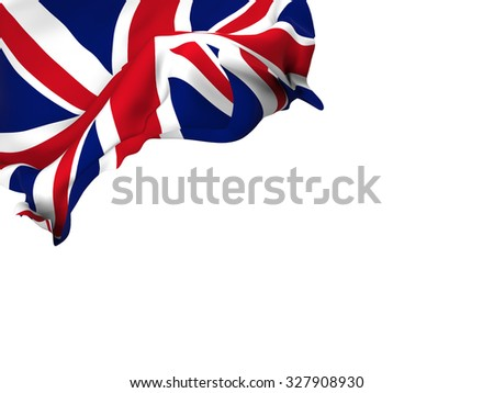 Flag of the United Kingdom waving over corner page with a withe background