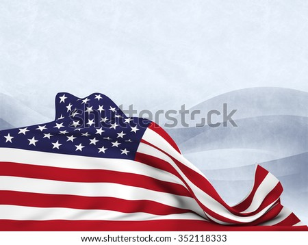 Flag of the United States moved by the wind, leaving a useful space over an abstract black and white background