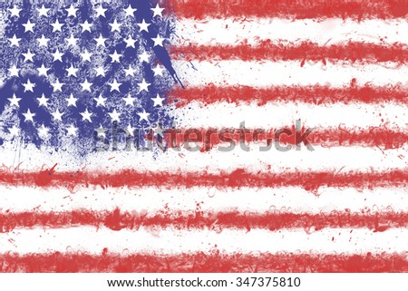 Flag of the United States of America created from splash colors. USA flag.  - stock photo