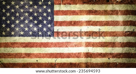 flag of the United States of America. Old vintage paper texture.