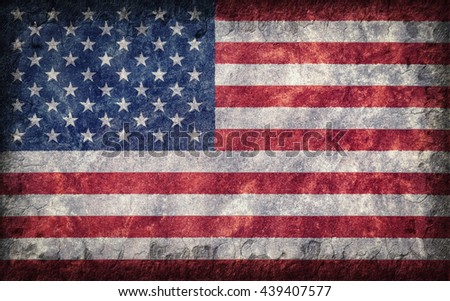 Flag of the United States of America painted onto a rough wall