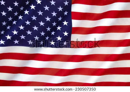 Flag of the United States of America - The 50 stars represent the 50 states of the Union and the 13 stripes represent the thirteen British colonies that declared independence from Great Britain.
