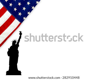 Flag of the United States of America with Statue of Liberty on white - stock photo