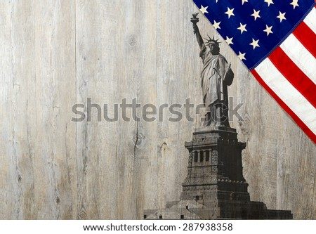 Flag of the United States of America with Statue of Liberty on wood - stock photo