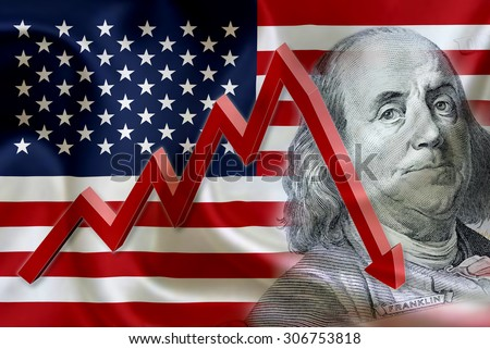 Flag of the United States of America with the face of Benjamin Franklin on US dollar 100 bill and a red arrow indicates the stock market enter recession period. - stock photo
