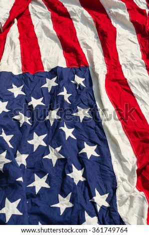 Flag of the United States Old Fabric - stock photo