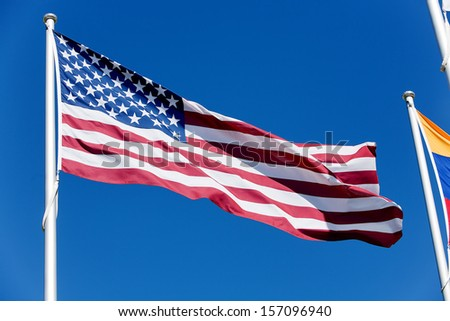 Flag of the Untied states of America flapping in the wind