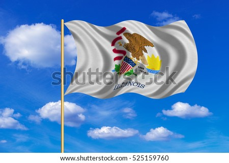 Flag of the US state of Illinois. American patriotic element. USA banner. United States of America symbol. Illinoisan official flag on flagpole waving in the wind, blue sky background. Fabric texture