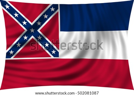 Flag of the US state of Mississippi. American patriotic element. USA banner. United States of America symbol. Mississippian official flag waving, isolated on white, illustration