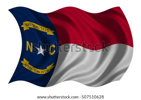 Flag of the US state of North Carolina. American patriotic element USA banner United States of America symbol North Carolinian official flag detailed fabric texture wavy isolated on white illustration