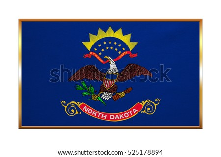 Flag of the US state of North Dakota. American patriotic element. USA banner. United States of America symbol. North Dakotan official flag, golden frame, textured, illustration. Accurate size, colors