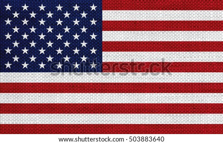 Flag of the USA on old linen