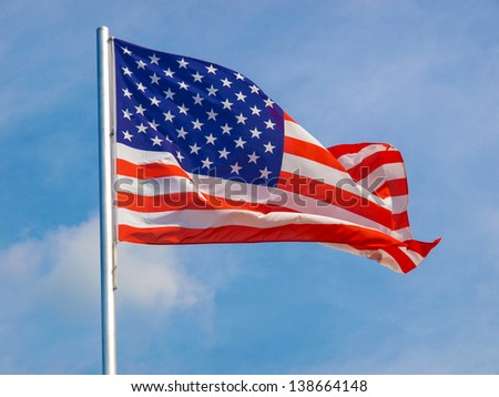 Flag of the USA (United States of America) floating in the wind