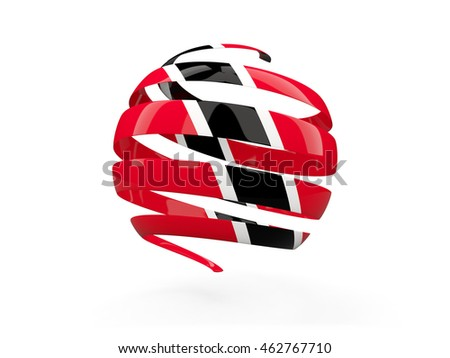 Flag of trinidad and tobago, round icon isolated on white. 3D illustration