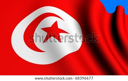 Flag of Tunisia against blue background. Close up.
