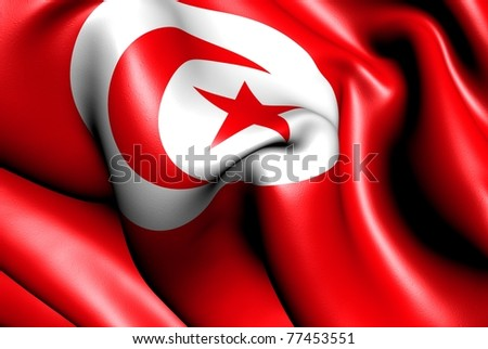 Flag of Tunisia. Close up.