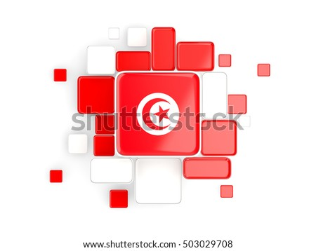 Flag of tunisia, mosaic background with square parts. 3D illustration